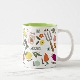 Fiesta de jardín taza de café de dos colores