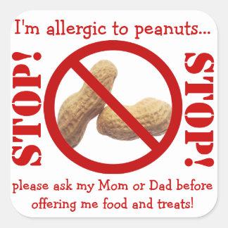 Fiesta de la alergia del cacahuete o advertencia colcomania cuadrada
