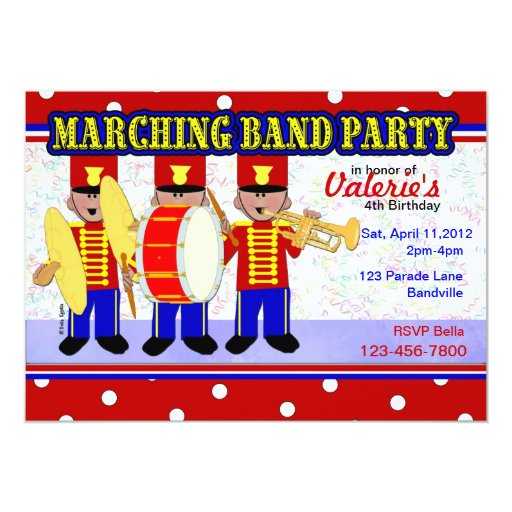 """Fiesta de la banda invitación 5"""" x 7"""""""