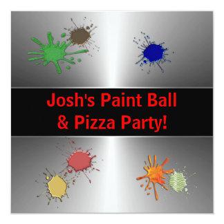 """Fiesta de la bola de la pintura de los muchachos invitación 5.25"""" x 5.25"""""""