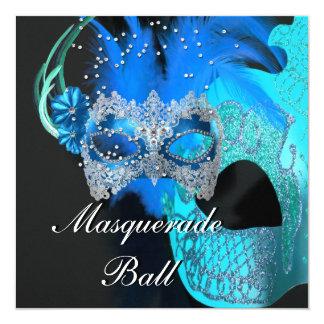 """Fiesta de la bola de mascarada de las máscaras del invitación 5.25"""" x 5.25"""""""