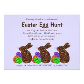 """Fiesta de la caza del huevo de Pascua del conejito Invitación 4.5"""" X 6.25"""""""
