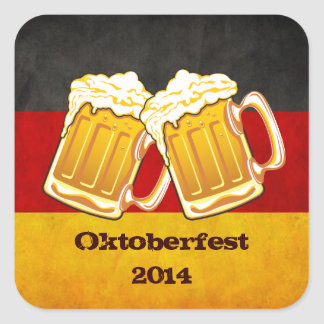 Fiesta de la cerveza de Oktoberfest - equipo de Pegatina Cuadrada
