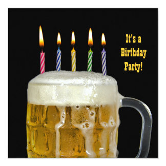 """Fiesta de la cerveza del cumpleaños invitación 5.25"""" x 5.25"""""""