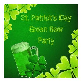 """Fiesta de la cerveza del verde del día de St Invitación 5.25"""" X 5.25"""""""