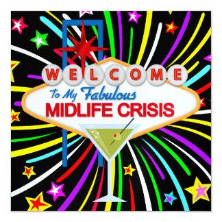 """Fiesta de la crisis de la media vida - SRF Invitación 5.25"""" X 5.25"""""""