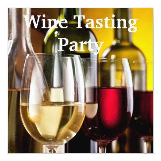 """Fiesta de la degustación de vinos de las botellas invitación 5.25"""" x 5.25"""""""