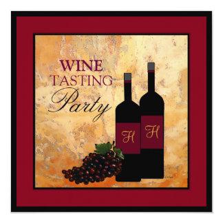 """Fiesta de la degustación de vinos invitación 5.25"""" x 5.25"""""""