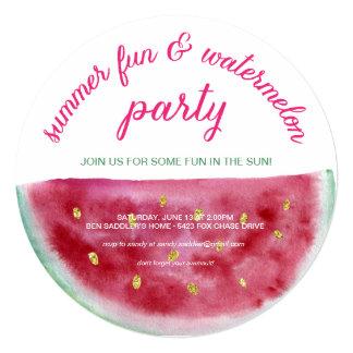 """Fiesta de la diversión del verano de la sandía invitación 5.25"""" x 5.25"""""""