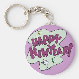 Fiesta de la Feliz Año Nuevo Llavero Redondo Tipo Pin