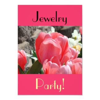 """¡Fiesta de la joyería! tulipanes de la primavera Invitación 5"""" X 7"""""""
