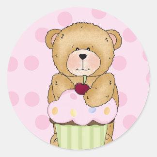 Fiesta de la magdalena del oso de peluche pegatinas redondas