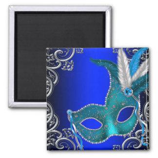 Fiesta de la mascarada del azul real imán cuadrado
