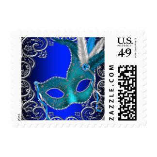 Fiesta de la mascarada del azul real sellos postales