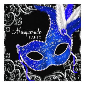 Fiesta de la mascarada del azul real y del negro invitación 13,3 cm x 13,3cm