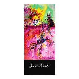 """Fiesta de la mascarada del CAT NEGRO /Mardi Gras Invitación 4"""" X 9.25"""""""