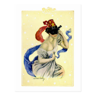 Fiesta de la mascarada del chica de Christy del Vi Tarjeta Postal