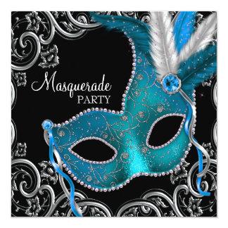 """Fiesta de la mascarada del negro azul del trullo invitación 5.25"""" x 5.25"""""""
