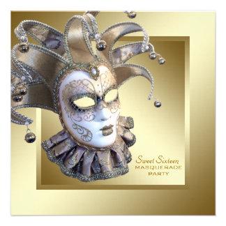 Fiesta de la mascarada del oro del dulce dieciséis comunicados personalizados