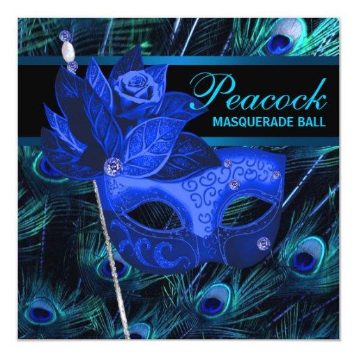 Fiesta de la mascarada del pavo real del azul real invitaciones personales