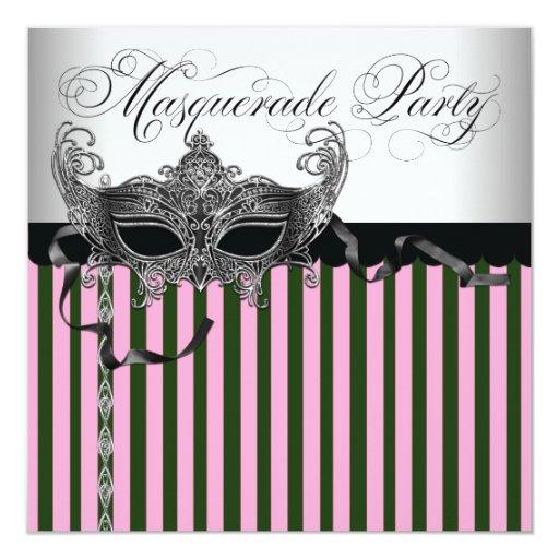 """Fiesta de la mascarada del rosa y del negro invitación 5.25"""" x 5.25"""""""