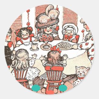Fiesta de la muñeca pegatina redonda