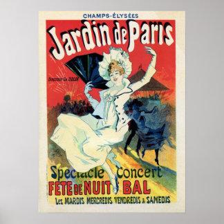 fiesta de la noche del de París del jardin de la Póster