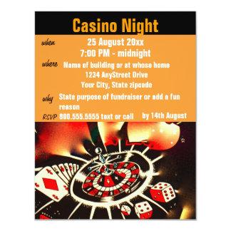"""Fiesta de la noche del póker del casino invitación 4.25"""" x 5.5"""""""
