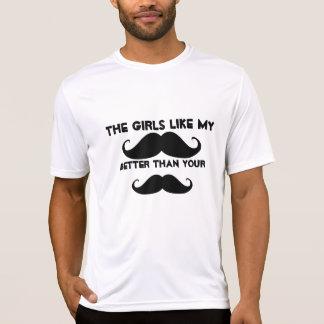 Fiesta de la paz del destino del bigote del amor d camisetas