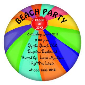 """Fiesta de la pelota de playa de la graduación de invitación 5.25"""" x 5.25"""""""