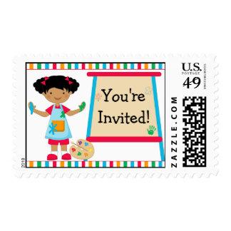 Fiesta de la pintura del arte de los niños del sello postal