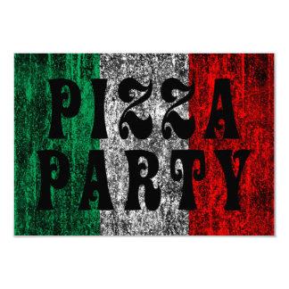 """fiesta de la pizza (bandera italiana) invitación 3.5"""" x 5"""""""