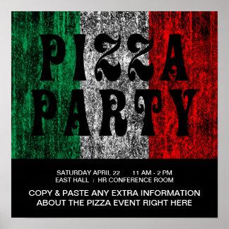 fiesta de la pizza (bandera italiana) póster