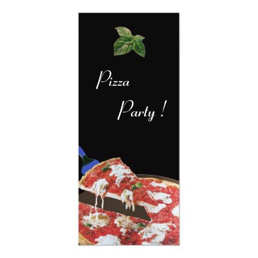 """FIESTA de la PIZZA, cena ITALIANA de la COCINA, Invitación 4"""" X 9.25"""""""
