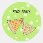 Fiesta de la pizza de las rebanadas de la pizza etiqueta redonda