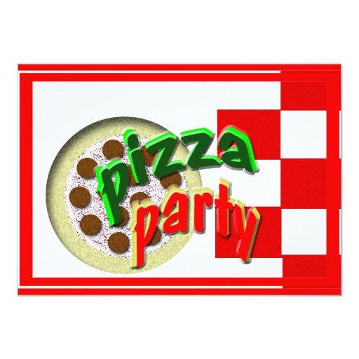 """¡Fiesta de la pizza!!!! Invitación 5"""" X 7"""""""