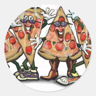 Fiesta de la pizza pegatinas redondas