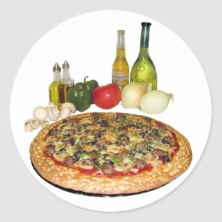 Fiesta de la pizza pegatina redonda