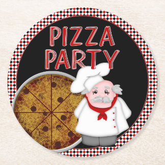 Fiesta de la pizza, sistema del estilo posavasos personalizable redondo