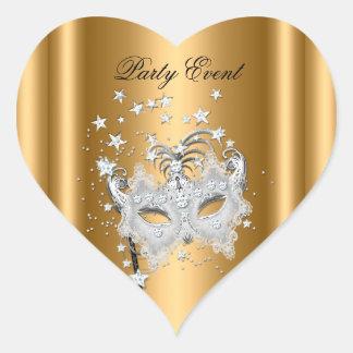 Fiesta de la plata del oro de la MÁSCARA del Pegatina En Forma De Corazón
