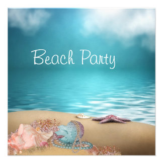 Fiesta de la playa de la arena de los Seashells de Anuncios Personalizados