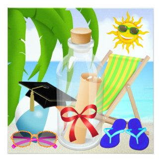 Fiesta de la playa de la graduación - invitación e