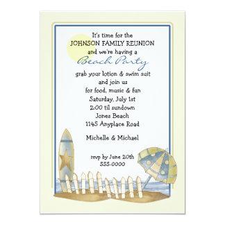 """Fiesta de la playa de la reunión de familia invitación 5"""" x 7"""""""