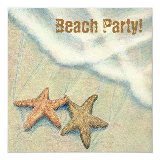 """¡Fiesta de la playa de las estrellas de mar! Invitación 5.25"""" X 5.25"""""""