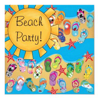 Fiesta de la playa de los flips-flopes de la sol invitación 13,3 cm x 13,3cm