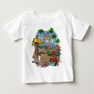 Fiesta de la playa de los loros playera de bebé