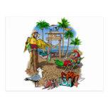 Fiesta de la playa de los loros tarjetas postales