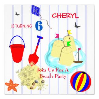 """Fiesta de la playa de los niños temático invitación 5.25"""" x 5.25"""""""