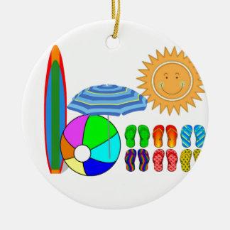 Fiesta de la playa del verano adorno navideño redondo de cerámica