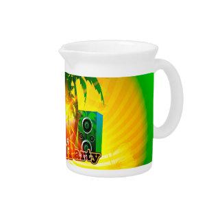Fiesta de la playa, diseño tropical con las jarrón